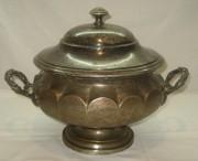 Супница старинная на 4,5 литра, серебрение, фраже, 19-20 век №2422