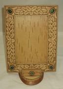 Рамка для фото из бересты «Дубовые листья», натуральные камни №3057