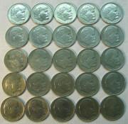 Монеты юбилейные, один рубль 25 штук №891