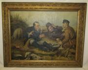 Картина в старинной раме «Охотники на привале» 69*86 см №7459